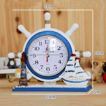 Đồng hồ để bàn trang trí kiểu bánh lái tàu xanh biển