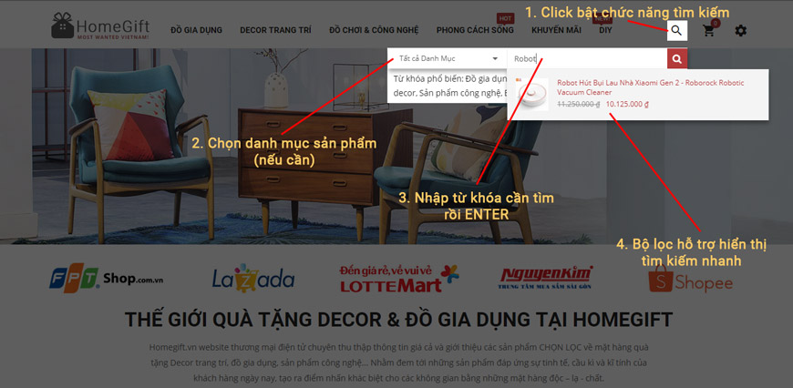 Hướng dẫn tìm kiếm trên Homegift.vn