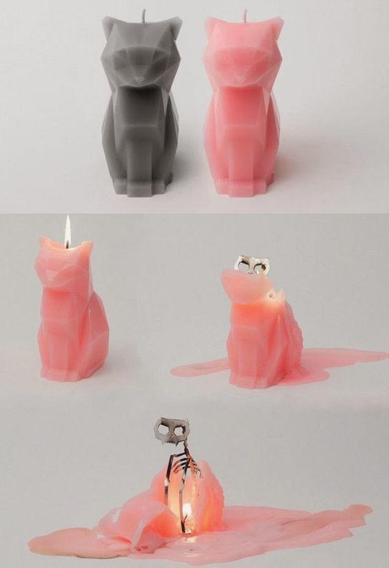 Nến hình mèo với khung kim loại độc đáo