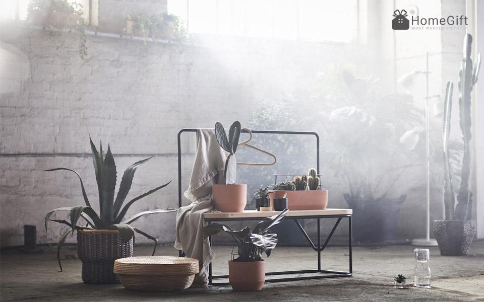 Chiếc ghế dài kết hợp với móc treo quần áo - Ảnh IKEA