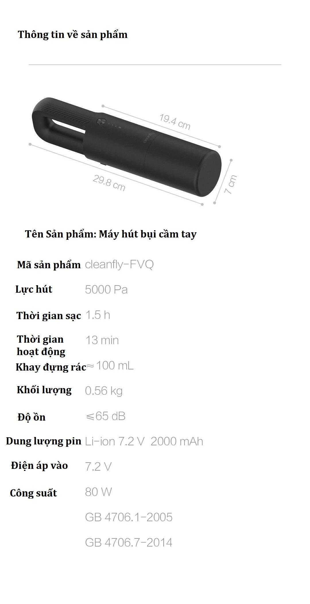 Thông số kỹ thuật Xiaomi Cleanfly-FVQ