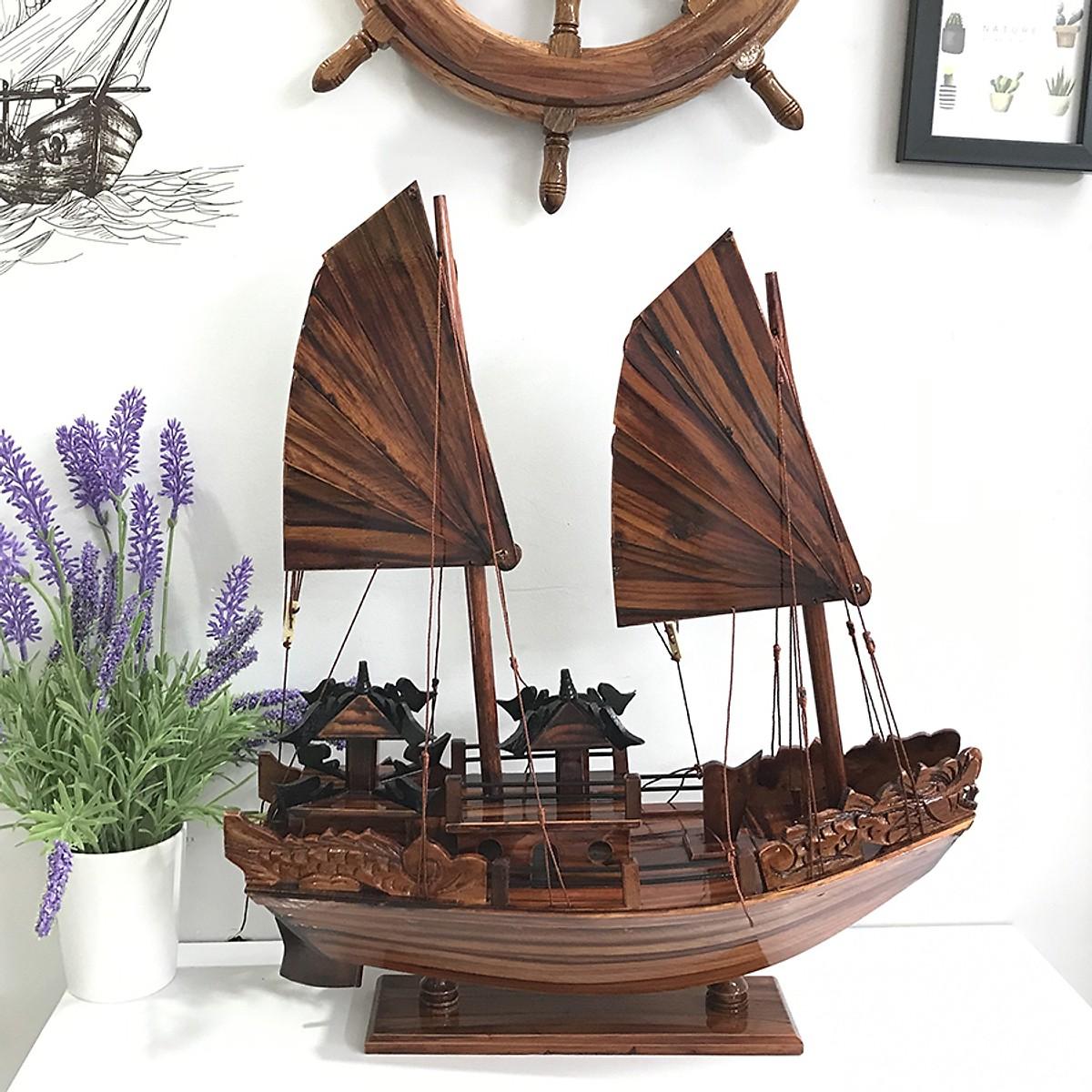 Mô hình thuyền gỗ trang trí Hạ Long Rồng - thân tàu 40cm