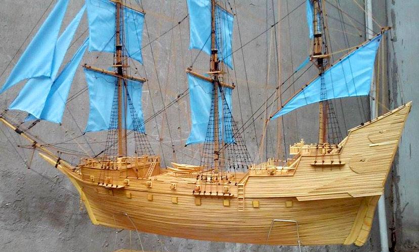 Mô hình thuyền buồm làm thủ công bằng tre độc đáo hợp phong thủy