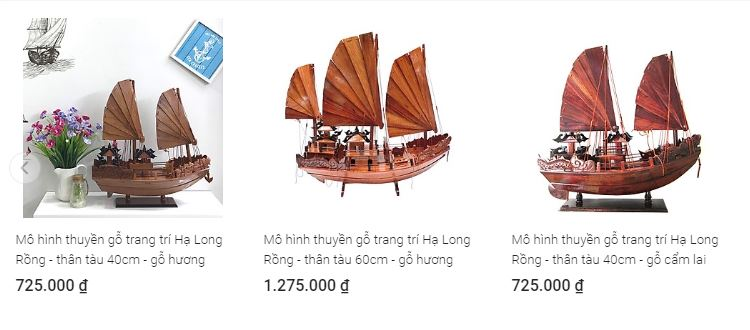 Mô hình thuyền gỗ trang trí Hạ Long