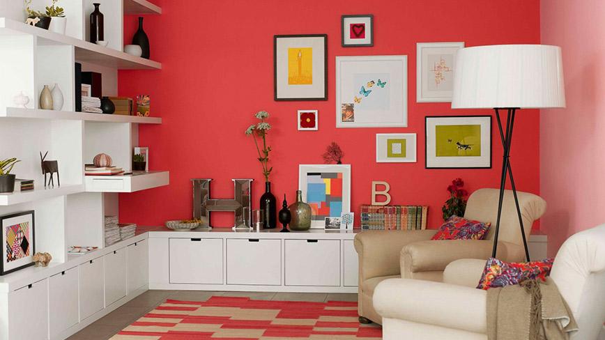 Decor nội thất phòng khách nổi bật với tone màu đỏ