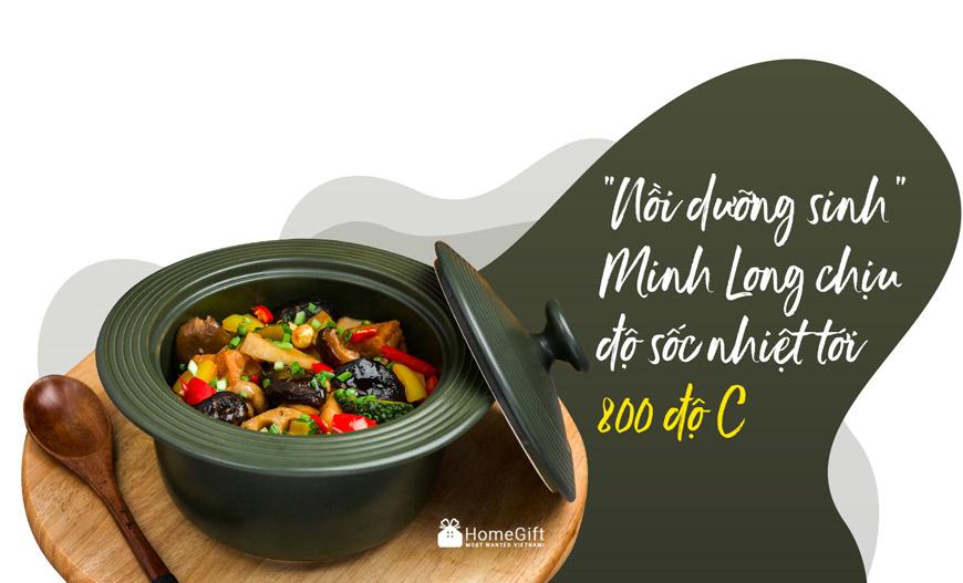 Nồi sứ dưỡng sinh Minh Long chịu sốc nhiệt rất tốt, chiếc nồi phù hợp với mọi món ăn.