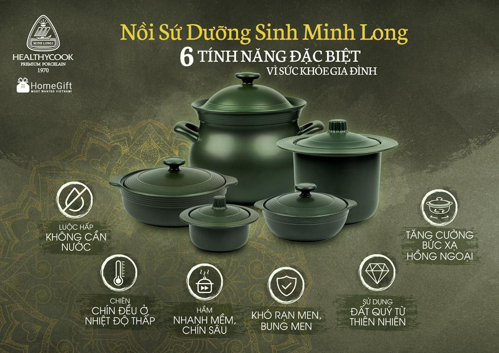 Nồi sứ dưỡng sinh Minh Long, nồi sứ vì sức khỏe gia đình Việt.