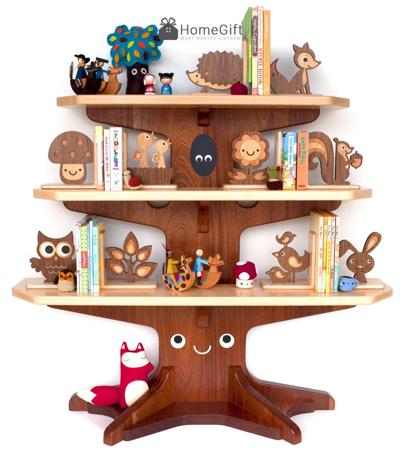 Kệ-sách-hình-cái-cây-với-các-chặn-sách-decor-động-vật-sinh-động---Homegift