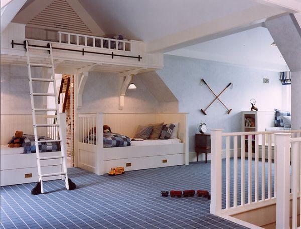 Tận dụng phòng áp mái làm phòng ngủ trẻ em độc đáo
