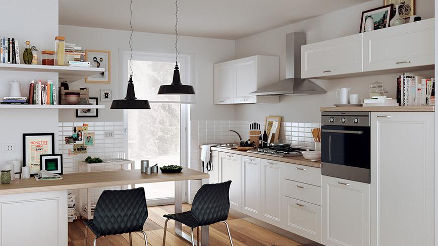 Thiết kế nội thất thông minh: phòng khách kết hợp với bếp, bàn ăn cũng là bàn làm việc giúp tiết kiệm diện tích
