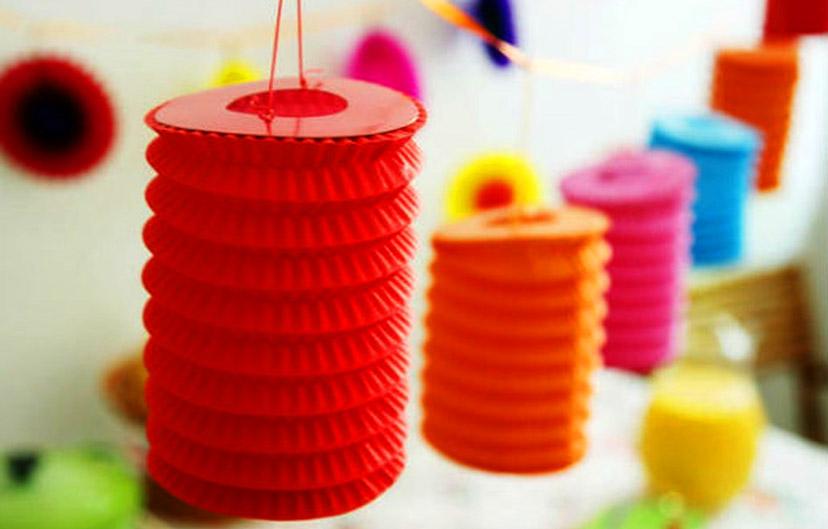 Lồng đèn giấy nhún lồng đèn trung thu bằng giấy màu xếp truyền thống