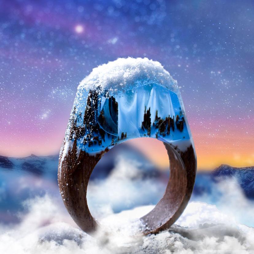 Nhẫn gỗ resin style đỉnh núi phủ tuyết trắng xóa tuyệt đẹp
