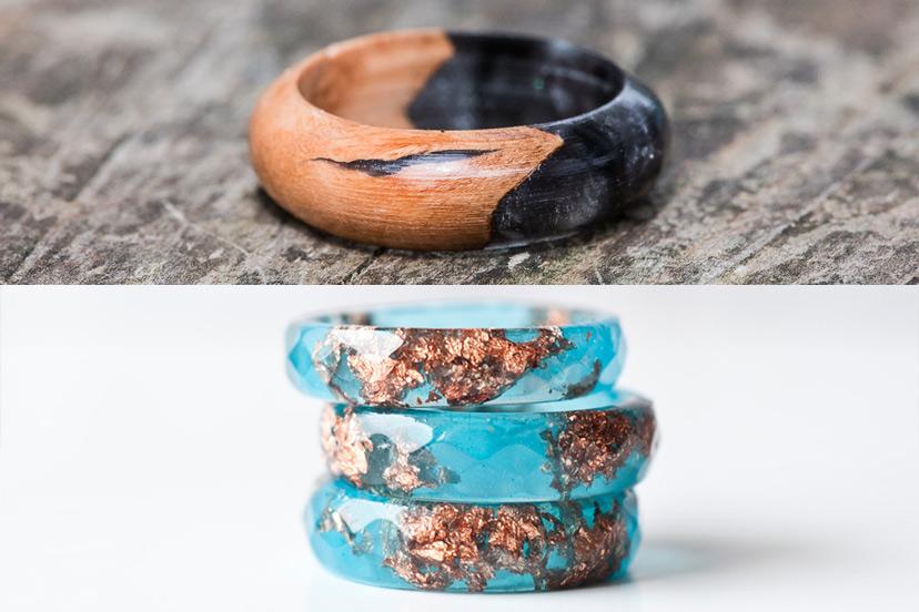 Nhẫn gỗ resin style tròn truyền thống khó làm hơn