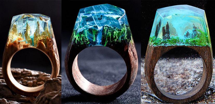 Nhẫn resin tự làm bằng gỗ độc đáo sáng tạo