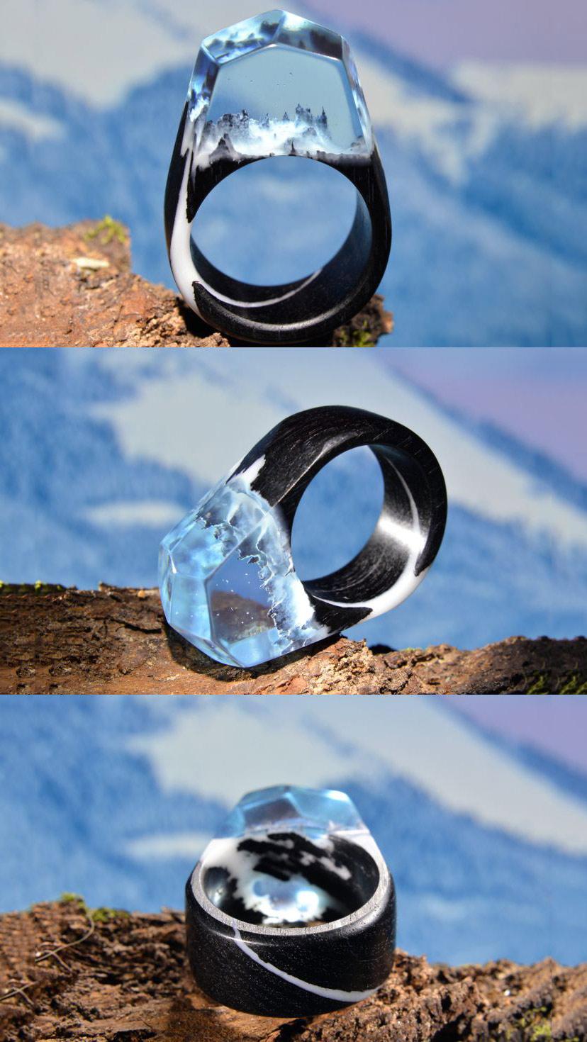 Nhẫn Resin Epoxy màu đen đá trong suốt cực  sang trọng