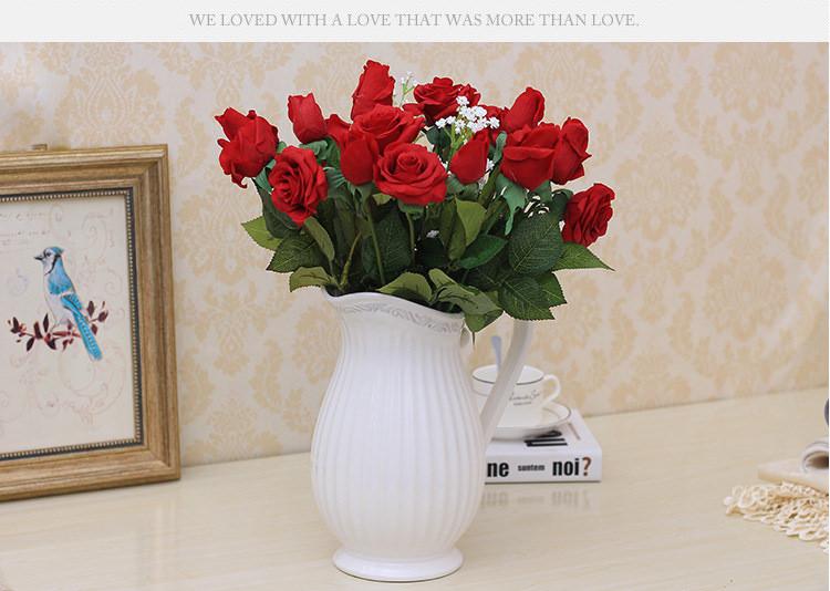 Bình hoa gốm sứ đẹp có tay cầm kiểu cổ điển Châu Âu