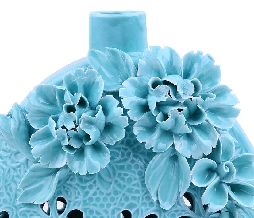 Bình hoa sứ xanh đẹp có họa tiết nổi tinh xảo