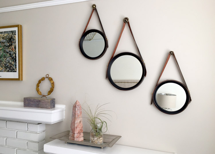 Gương tròn treo tường bằng dây da độc đáo