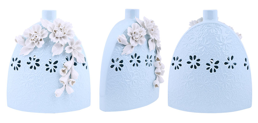 Lọ đựng hoa bằng sứ trắng đẹp có họa tiết nổi tinh xảo