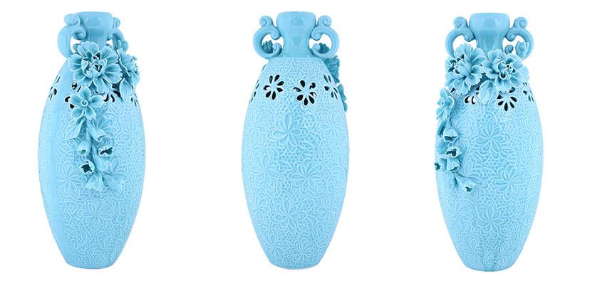 Lọ đựng hoa hình bầu dục gốm sứ xanh đẹp có họa tiết nổi tinh xảo
