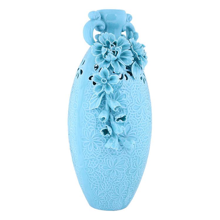 Bình hoa gốm sứ bầu dục cao cấp tạo hình nổi bông hoa rất chi tiết, tinh xảo, tao nhã
