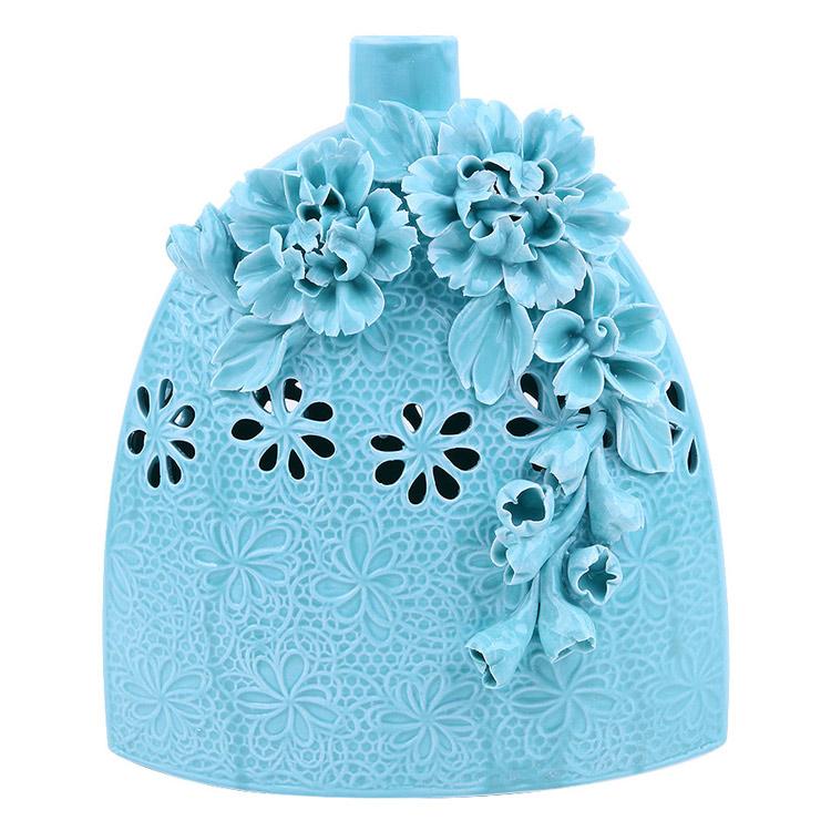 Bình hoa gốm sứ cao cấp tạo hình nổi bông hoa rất chi tiết, tinh xảo, tao nhã