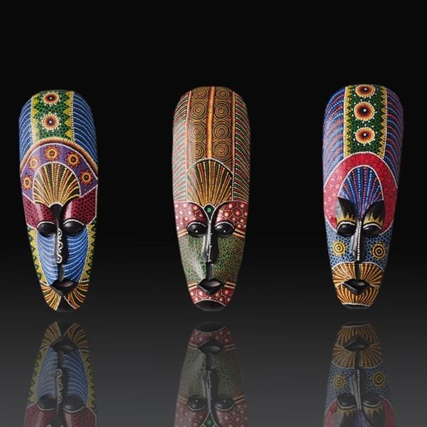 Bô mặt nạ trang trí bằng gỗ thổ dân châu phi làm thủ công tại Indonesia