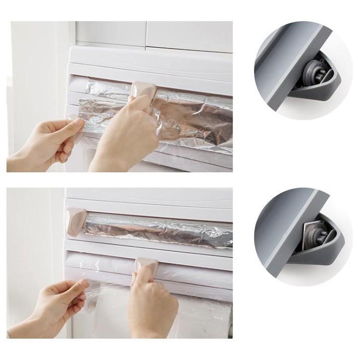 Hộp có thiết kế 2 khay để màng bọc thực phẩm hoặc giấy bạc có dao cắt rất tiện dụng