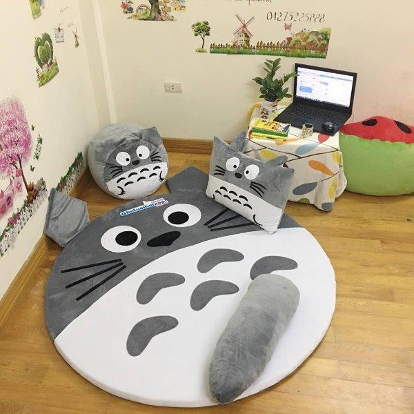 Bộ Ghế Lười Hạt Xốp Hình Thú Totoro xám