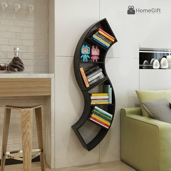 Giá sách treo tường bằng gỗ hình chữ s