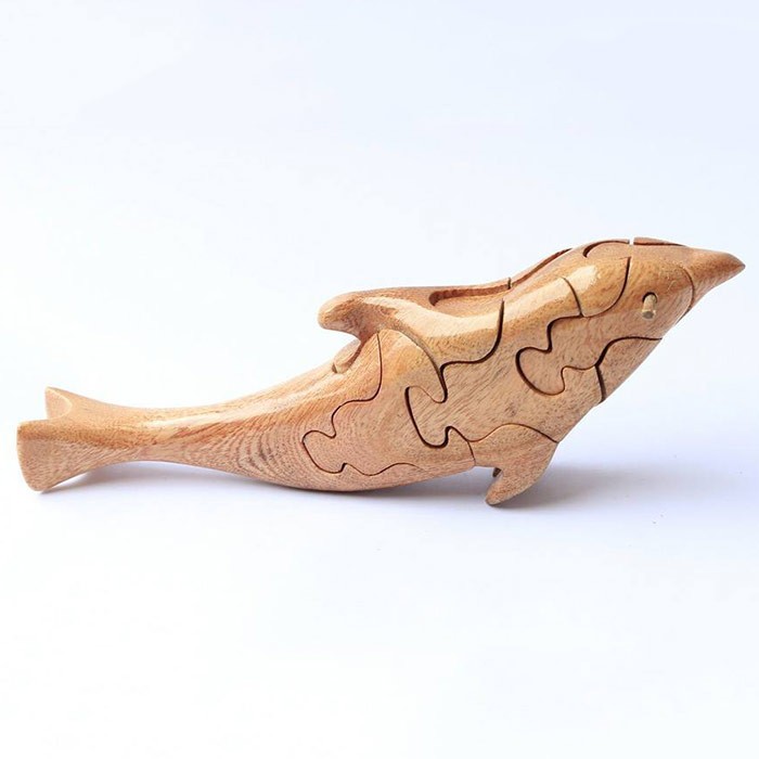 Đồ chơi trẻ em bằng gỗ lắp ghép, con giống lắp ghép 3D hình cá Heo