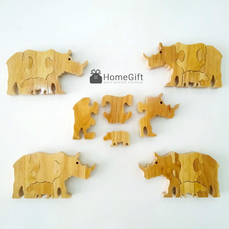 Bộ ghé hình thú bằng gỗ phẳng với thiết kế 4 mảnh ghép thông minh