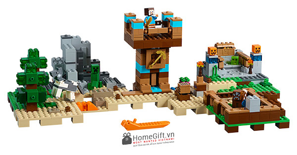 do choi Mykingdom lego minecraft crafting box