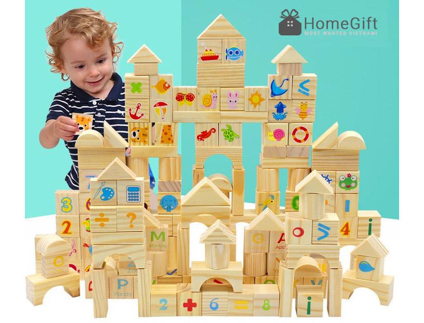 Đồ chơi gỗ xếp hình khối bằng gỗ 80 chi tiết