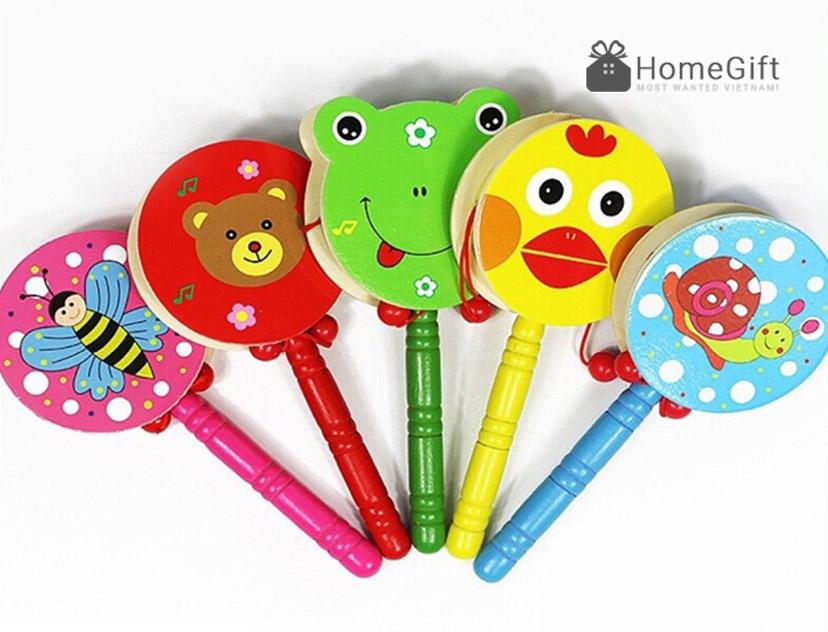 Đồ chơi trống lắc cầm tay bằng gỗ cho bé