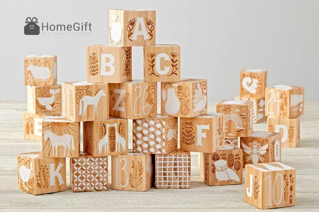 Đồ chơi trẻ em bằng gỗ xếp hình hộp chữ cái thông minh sáng tạo