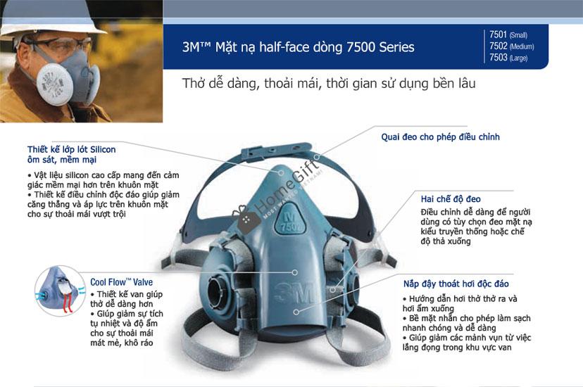 Cấu tạo mặt nạ phòng độc 3M Series 7500