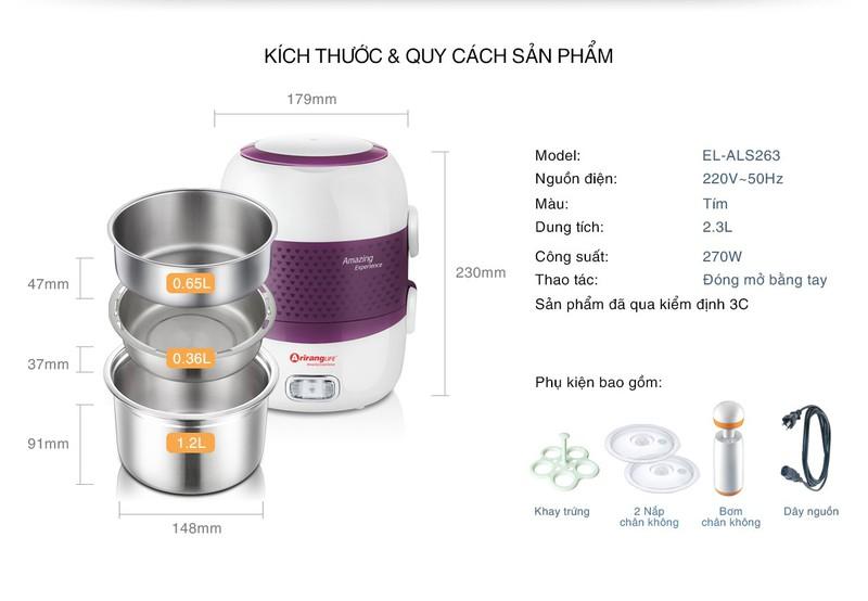 Kích thước quy cách sản phẩm hộp cơm Arirang Llife-el Als263