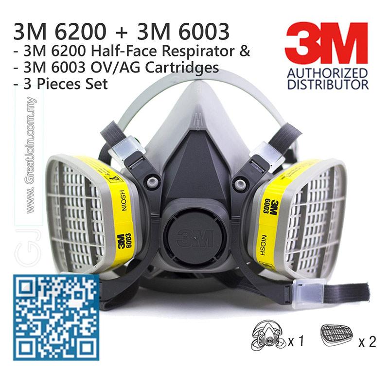Mặt nạ phòng độc 3M 6200  + Phin lọc 6003 được thị trường ưa dùng.