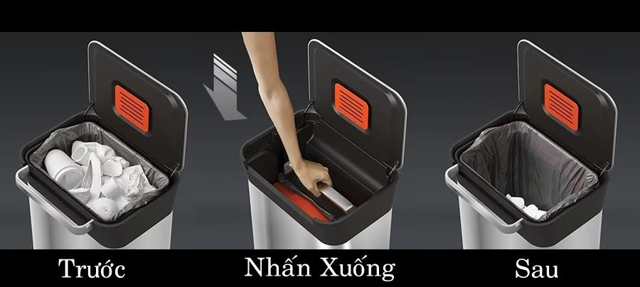 Hệ thống nén giúp thùng rác này có thể chứa được lượng rác gấp 3 lần