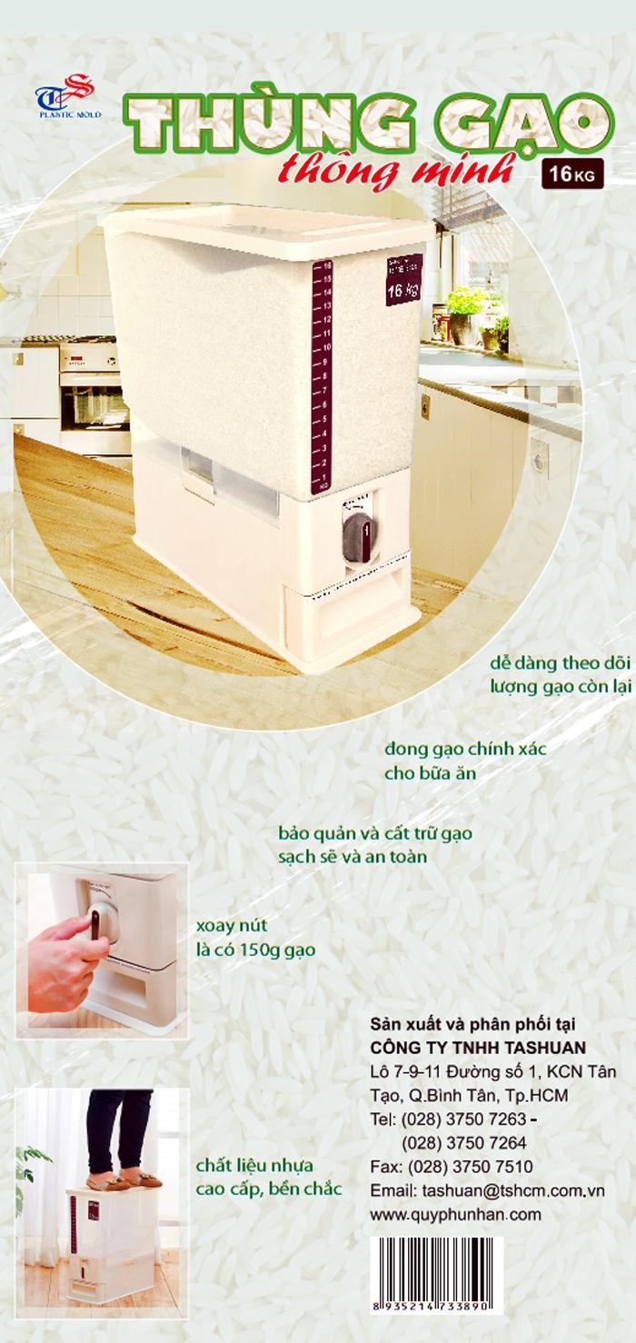 Thông tin chi tiết về thùng đựng gạo thông minh Tashuan 16kg