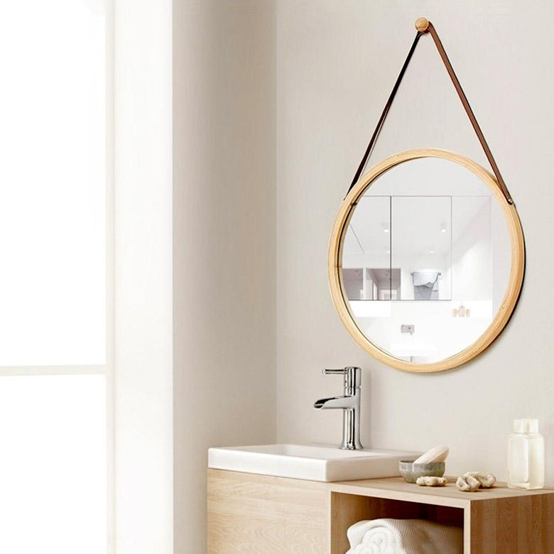 Gương tròn thả dây da, Gương tròn treo tường phôi gỗ