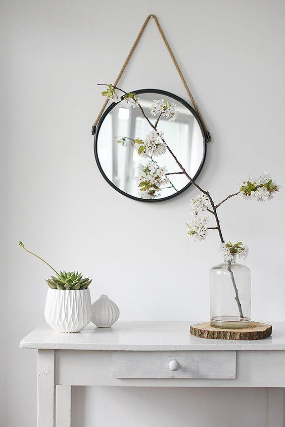 Gương hình tròn dây thừng decor độc đáo sáng tạo