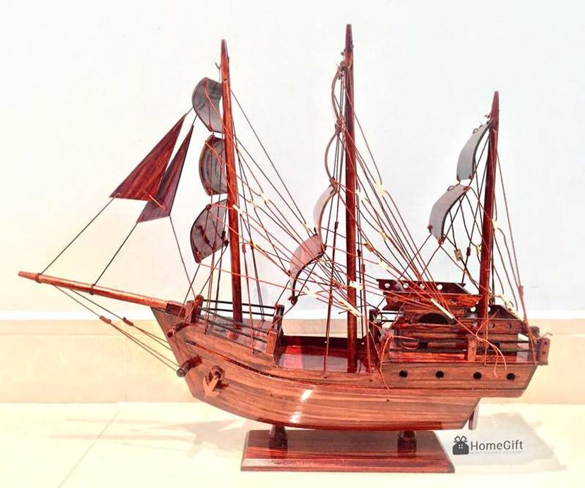 Mô hình Tàu Buôn Thái Lan Trang trí - Gỗ Tràm - Thân 80cm