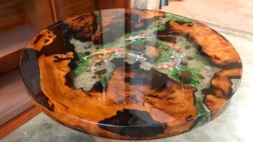 DIY - hướng dẫn cách pha đổ keo Resin Epoxy trong suốt làm mặt bàn và trang sức